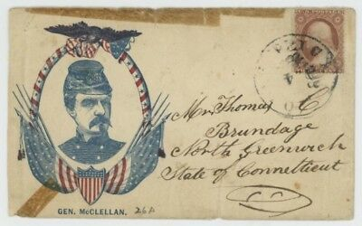 Mr Fancy Cancel 26 CIVIL WAR PATRIOTIC GEN McCLELLAN EAGLE FLAGS SHIELD FRAME