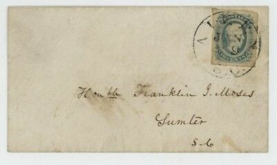 Mr Fancy Cancel CSA VF 11 SMALL COVER TIED AIKEN SC CDS TO HON F MOSES SUMTER SC
