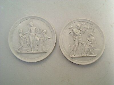 Vintage Antque Neoclassical Plaster Wall Plaques With Back Stamped Nude Hunter.