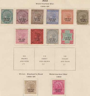 India Conv Jind QV 1886-99 SG17-32 Selection 12 Mint CV£125