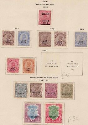 India Conv Jind GEOV 1921-37 SG79-101 Selection 14 Mint CV£62