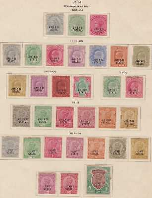 India Conv Jind QV-EDVII-GEOV 1900-1927 SG37-76 Selection 32 Mint CV£155