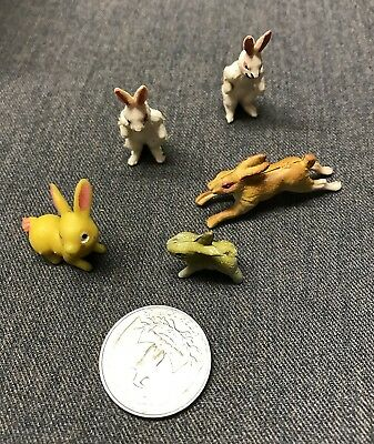 5 Vintage Miniature Rubber Bunnies Rabbits One Marked HK