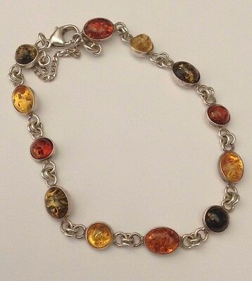 Silver Old Amber Bracelet With Safety Chain Excellent