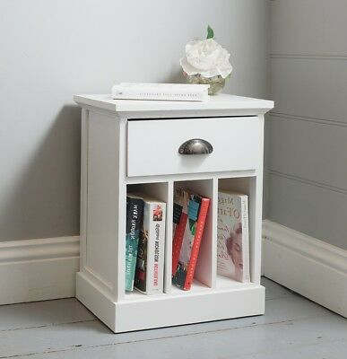 One Drawer Nightstand Bedside Table Bedroom Wooden White Furniture