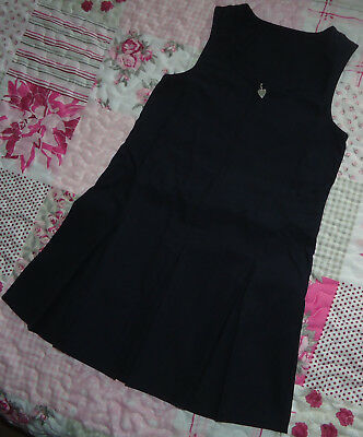 New Girl's Black Teflon School Uniform Pleated Pinafore Dress