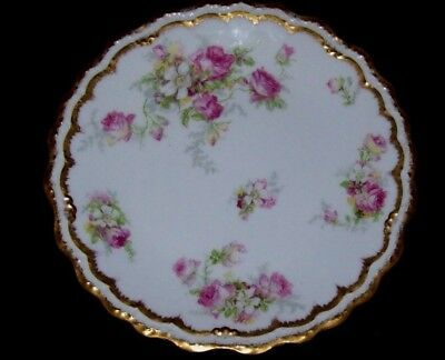 Gorgeous Limoges France B & H Fancy Plate - Roses with Gold