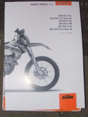 Ktm 350Exc-F / 350 Ecf-W Owners Manual 2016  (All Models Listed)