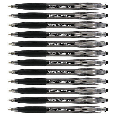 BIC Atlantis Retractable Ball Point Pen, 1.6mm, Bold Point, Black Ink, 12-Count
