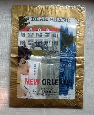 1960s BEAR BRAND NEW ORLEANS FF seamed nylon stockings 9.5, Hazeblush