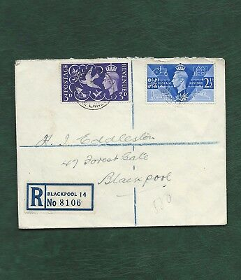 GB 1946 George VI Victory set on Registered Plain FDC Blackpool