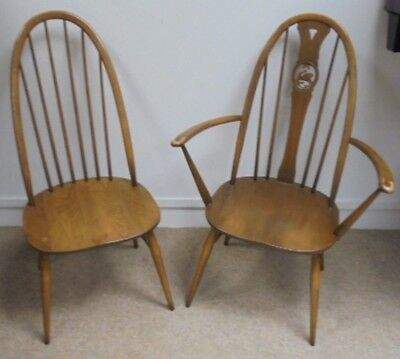 Pair Of ERCOL Windsor Dining Chairs - 1x Quaker & 1x Swanback Carver - Y06