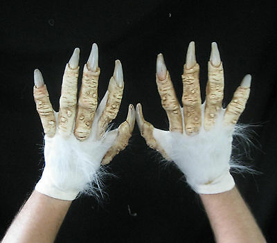 White Werewolf Yeti Abdonimal Beast Hands Scary Adult Halloween Costume Gloves