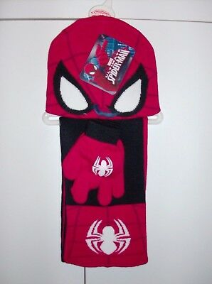 Marvel Spiderman Boys Hat Scarf And Glove Set 3/4 Yrs New