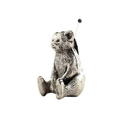 Antique Sterling Silver Bear / Teddy Pin Cushion - 1917
