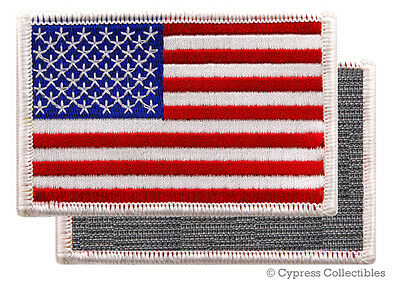 AMERICAN FLAG BIKER PATCH WHITE RIGHT embroidered USA w/ VELCRO® Brand Fastener