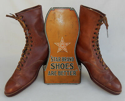 Antique STAR BRAND SHOES Metal Store Display W/Shoes * Roberts, Johnson & Rand