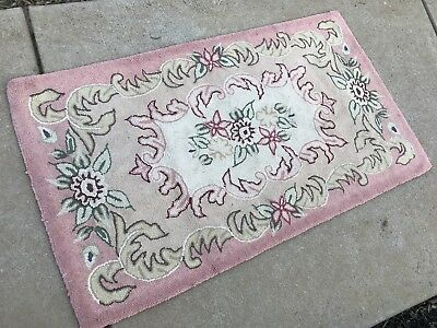 Vintage1940's Era Pink and Cream Floral Hooked Rug 52 x 30