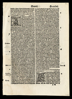 1519 Bible Leaf Old Testament Daniel 6-9 The Lion's Den 3 Historiated Letters