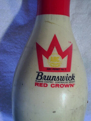 BRUNSWICK RED CROWN BOWLING PIN Plastic Coated ABC Approved,permit No.5, 02 dn