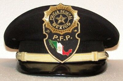 Vintage Obsolete Mexico Federal Police Hat Policia Federal Officer Mexican Badge