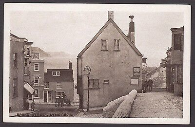 Postcard Lyme Regis near Charmouth Dorset early view of Broad Street