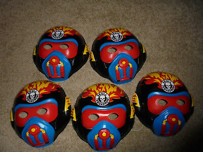 Lot of 5 plastic Vintage Halloween Masks Skull Squadron Characters Cleveland NEW