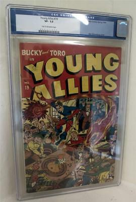 Marvel CGC 7. 5 YOUNG ALLIES CAPTAIN AMERICA APP Comics No 19 TIMELY Golden Age