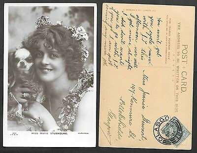Theatre Actress Photo Postcard - 1904 - Marie Studholme and Puppy Dog