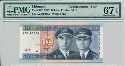 Lietuvos Banks Lithuania  10 Litu 2007 Replacement/ Star PMG  67EPQ