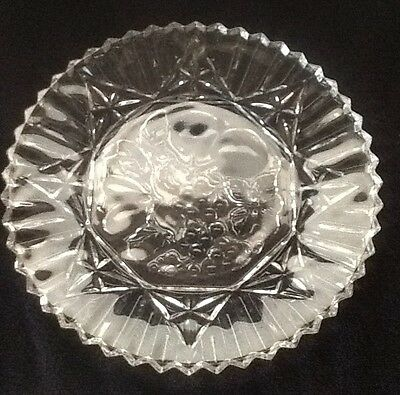 Clear Glass Grape Pattern Round Platter/Plate