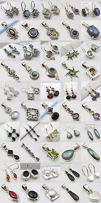 Wholesale! 925 Silver Gemstone Earrings Pendant Sets!