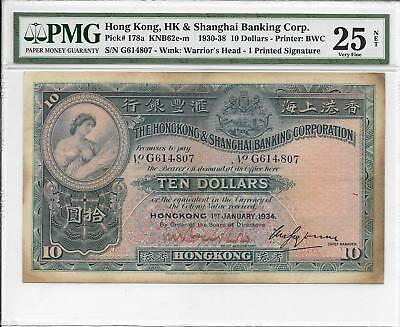 Hong Kong Bank - $10, 1934. Handsigned signature. PMG 25Net. Look EF. Original.