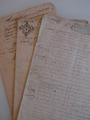 Lot de 3 manuscrits, 1697, 53 pages, noblesse bretonne, Rennes, à étudier !