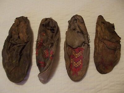 4. Sioux Quilled Moccasins.four Total 1890S