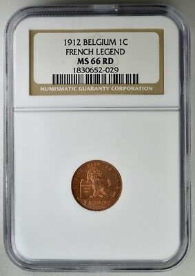 French Legend Belgium  1 Cent 1912  NGC  MS66 RD  Copper