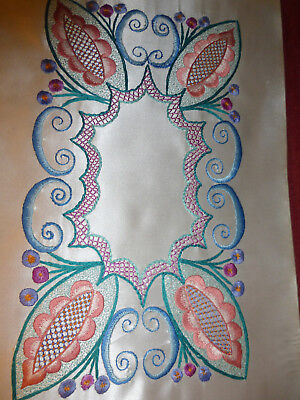 vintage Jacobean style hand embroidered panel