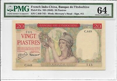 French Indo-China, Banque de L'Indochine - 20 Piastres, nd (1949). PMG 64. RARE.