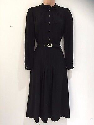 Vintage 70's St Michael Black New Wool 40's Style Belted Pleated Dress 10-12