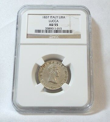SCARCE 1837  ITALY Lucca One Silver Lira CERTIFIED NGC AU 55