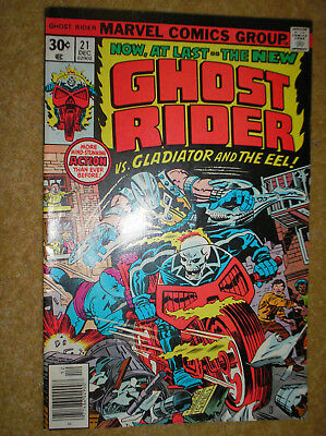 GHOST RIDER # 21 GLADIATOR JACK KIRBY KANE 30c 1976 BRONZE AGE MARVEL COMIC BOOK