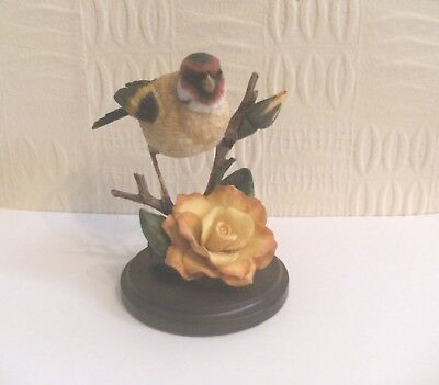 A Lovely Country Artists Model of a Goldfinch with Rose, Boxed, Broadway Birds