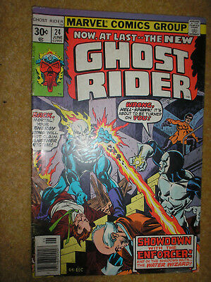 GHOST RIDER # 24 ENFORCER GIL KANE DON HECK 30c 1977 BRONZE AGE MARVEL COMIC BK