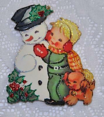 Little Boy with Dog and Snowman ~ Glittered Vintage  Image Ornament