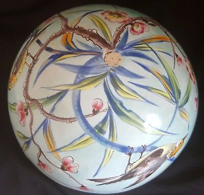 Vintage D Goffaux French Faience Majolica Vase Bowl