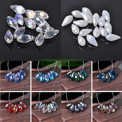 Wholesale 6/8/10mm Color AB Teardrop Tear Drop Glass Faceted Crystal Loose Beads