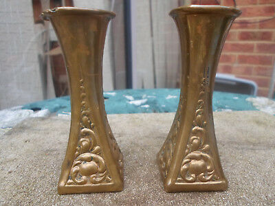 Brass Art Nouveau Small Candle Holders / Vase x 2