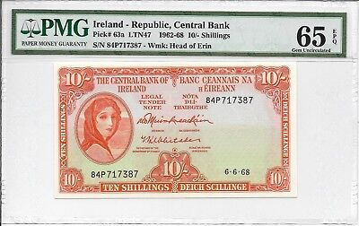 Ireland - Republic, Central Bank - 10 Shillings, 1968. PMG 65EPQ.