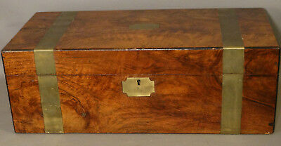19thC Antique CIVIL WAR Style CAMPAIGN CHEST Old OFFICERS Writing FIELD DESK
