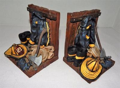 FIRE GEAR Bookend Set - Resin Fire Fighter Jackets- Boots- Axes- Helmets- Hoses